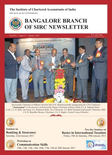 January & February, 2011 - Bangalore Branch of SIRC