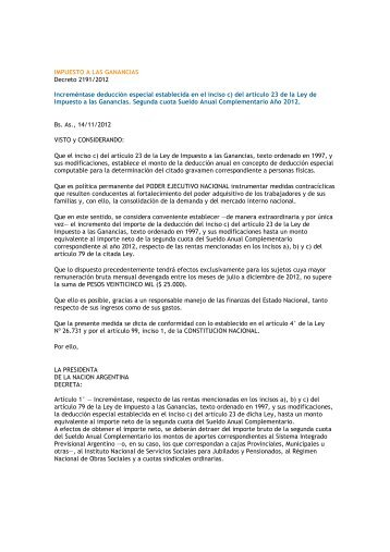 IMPUESTO A LAS GANANCIAS Decreto 2191/2012 Increméntase ...