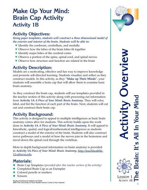 Brain Cap Activity - Teacher Enrichment Initiatives - The