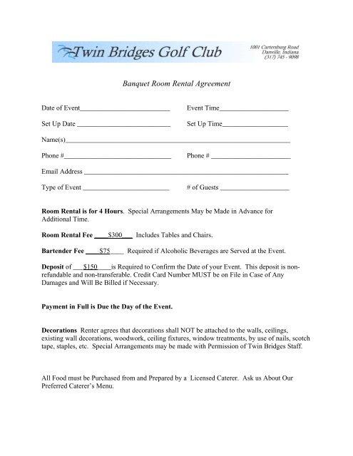 Banquet Room Rental Agreement Teeitup Marketing
