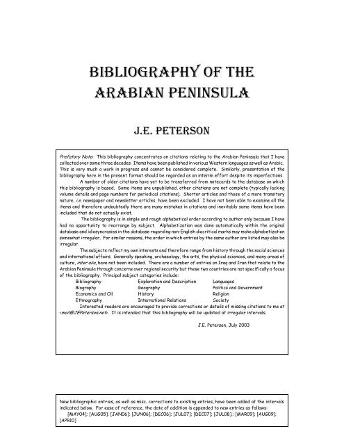 Bibliography of the Arabian Peninsula - JEPeterson net