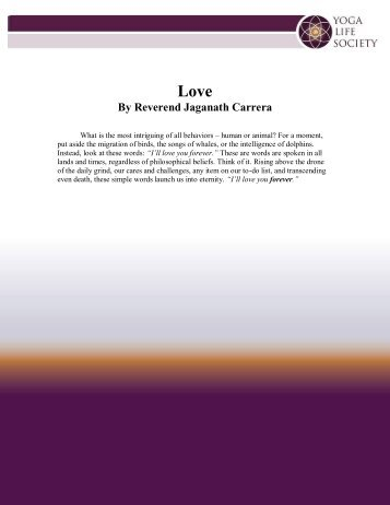 Love By Reverend Jaganath Carrera - Yoga Life Society