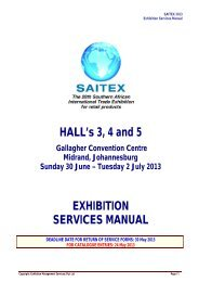 HALL's 3, 4 and 5 EXHIBITION SERVICES MANUAL
