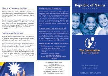 Referendum 2010 - The Government of the Republic of Nauru