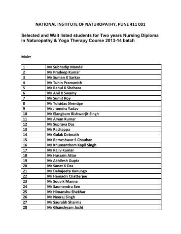 List of Selected Candidates for Two Years Nursing Diploma in ...