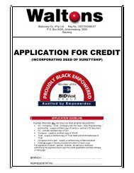 APPLICATION FOR CREDIT - Waltons