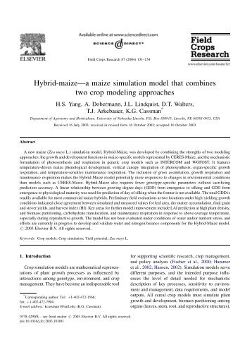 Hybrid-maize—a maize simulation model that combines two crop ...