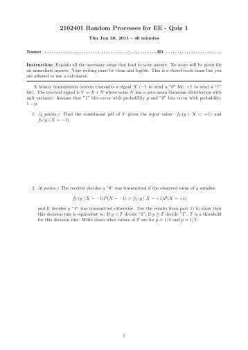 2102401 Random Processes for EE - Quiz 1