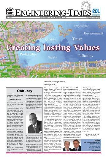 Creating lasting Values - Pörner Ingenieurgesellschaft mbH