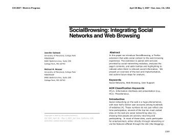Integrating Social Networks and Web Browsing - Computer Science ...