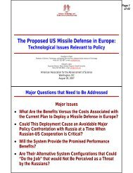 The Proposed US Missile Defense in Europe: - Center for Science ...