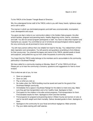 We, the undersigned former staff of the YWCA, write to y - News 14