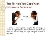 Tips To Help You Cope With Divorce or Separation