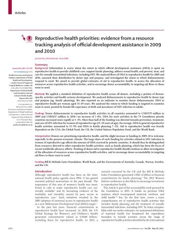 Reproductive health priorities - Countdown to 2015