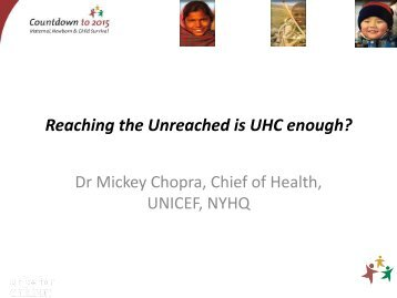 Reaching the unreached - Countdown to 2015