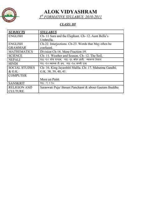formative syllabus 2010-2011 - Alok Vidyashram
