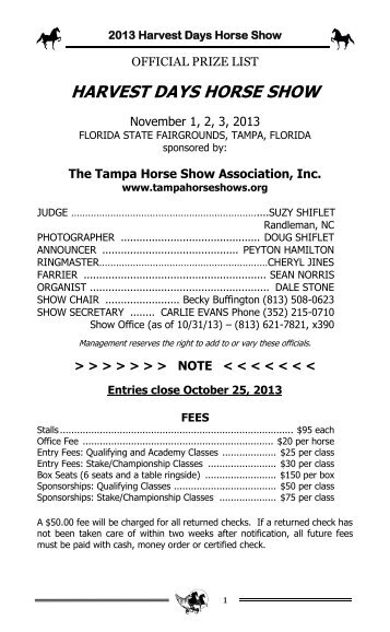 2013 Harvest Days Prize List - Tampa Horse Show Association
