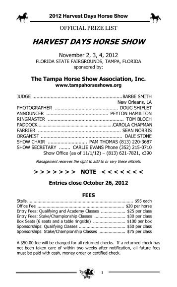 2012 Harvest Days Prize List - Tampa Horse Show Association
