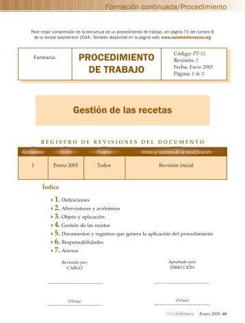 procedimiento de trabajo.qxd - Aula de la Farmacia