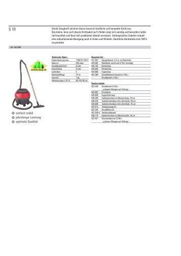 Katalog Reinigungs-Systeme Technische Daten