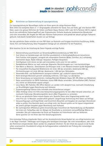 Richtlinien zur Datenerstellung & Layoutgestaltung