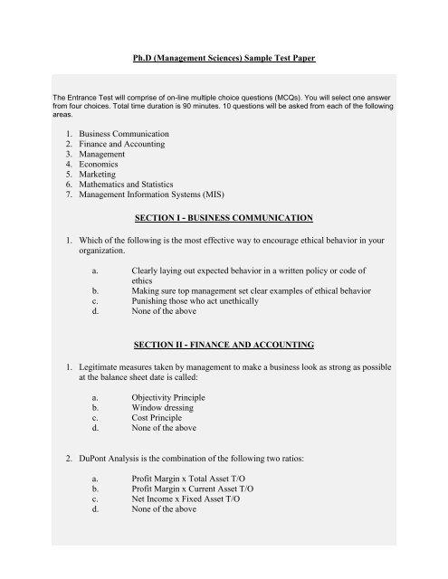 Ph D (Management Sciences) Sample Test Paper 1  Business