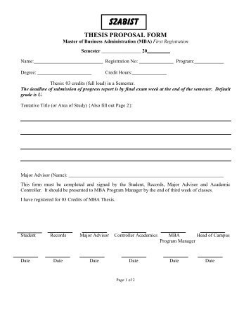 Acad-011: MBA Thesis Proposal Form (First Reg)