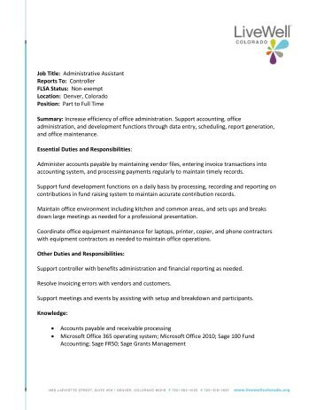 job title administrative assistant reports to livewell colorado. Resume Example. Resume CV Cover Letter