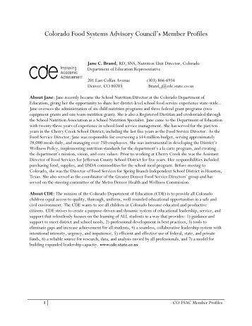 "Colorado Food Systems Advisory Council""s Member Profiles"