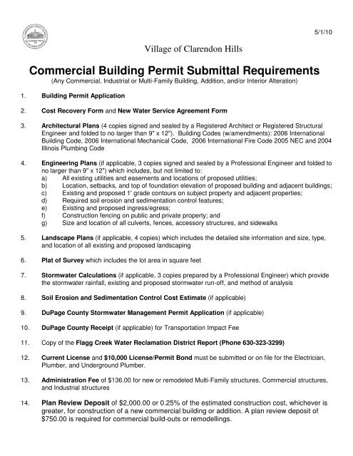 Commercial Building Permit Submittal Requirements