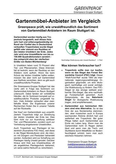 Gartenmobel Anbieter Im Vergleich Greenpeace Gruppe Stuttgart