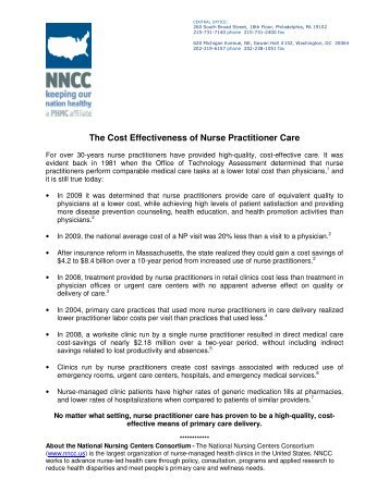 The Cost Effectiveness of Nurse Practitioner Care - National Nursing ...