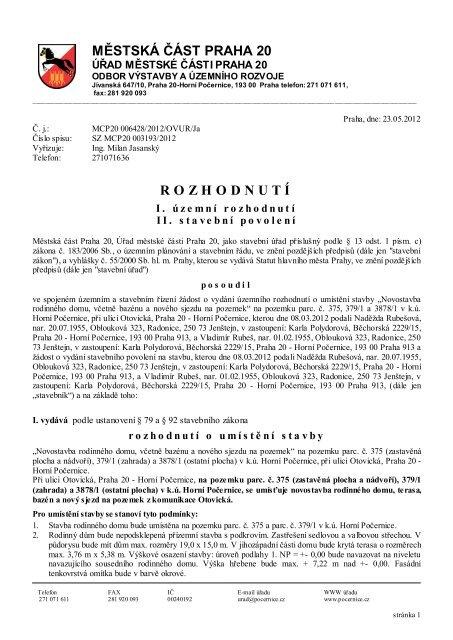 rozhodnut í - Horní Počernice