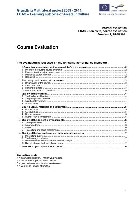 Loac Template Evaluation Of Pilot Courses