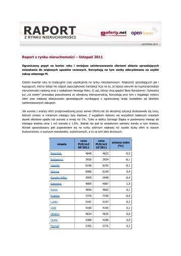 Raport z rynku nieruchomości – listopad 2011.pdf - QBusiness.pl