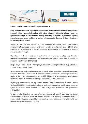 Raport z rynku nieruchomości - październik 2013.pdf - Open Finance