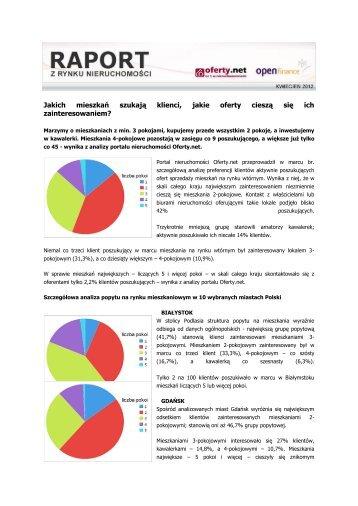 Raport z rynku nieruchomości Oferty.net i Open ... - QBusiness.pl