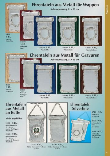 Ehrentafeln aus Metall für Wappen Ehrentafeln aus Metall für ...