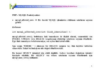 Internet Programcılığı (PhP ve MySQL Fonksiyonları)ı – Ders ...
