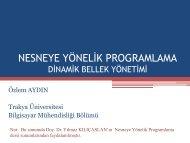 Dinamik Bellek Yönetimi - Trakya Üniversitesi