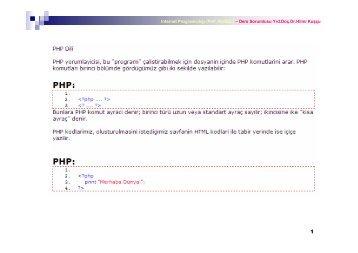 Internet Programcılığı (PhP, MySQL) – Ders Sorumlusu Yrd.Doç.Dr ...