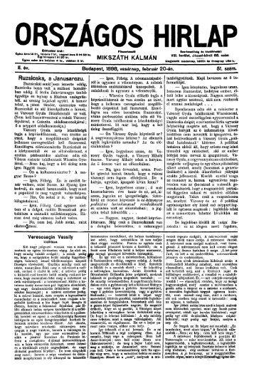 Országos Hirlap 1898. II. évf. 51. sz. (1898. február 20.) - EPA