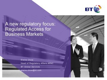A new regulatory focus: Regulated Access for Business Markets