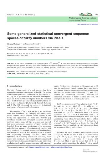 Some generalized statistical convergent sequence spaces of fuzzy ...