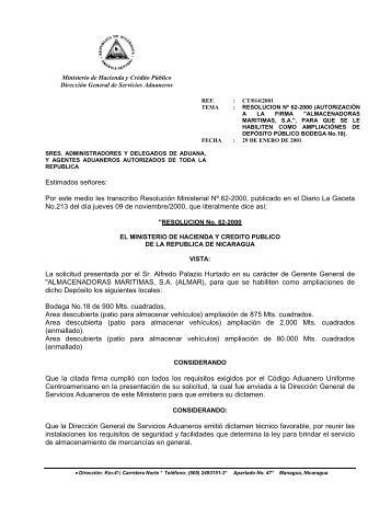 ct-014-2001 resolucion-62-2000- almar. - Dirección General de ...