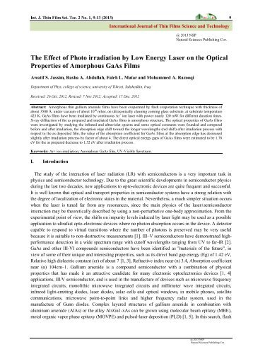 The Effect of Photo irradiation by Low Energy Laser on the Optical ...