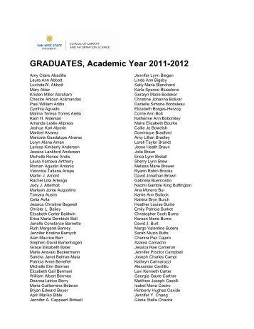 GRADUATES, Academic Year 2011-2012