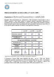 pregled reševalnega dela v letu 2009