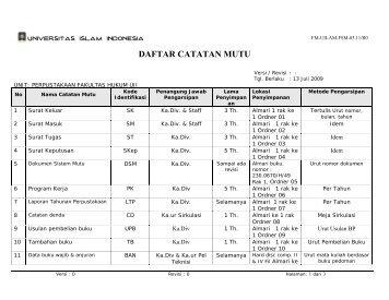 daftar catatan mutu - Fakultas Hukum Universitas Islam Indonesia