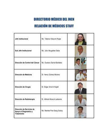 DIRECTORIO MÉDICO DEL INEN RELACIÓN DE MÉDICOS STAFF